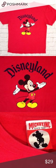 Mickey Mouse DISNEYLAND TEE SHIRT souvenir disney VINTAGE 90'S Mickey Mouse DISNEYLAND  T-SHIRT  LABELLED A SIZE XL PIT TO PIT = 22'' LENGTH= 28''  WASHED & WORN NO HOLES, NO STAINS GOOD USED CONDITION  SEE PICTURES FOR DETAILS  Contact me if you have any questions Disney Shirts Tees - Short Sleeve