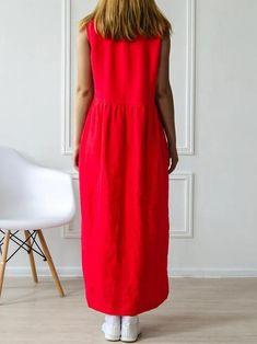 US$ 26.38 - Cotton-blend Linen V-neck Casual Dress - www.linenlooks.com Chiffon Maxi Dress, Bodycon Dress, Order Checks, Summer Colors, Shoulder Length, Types Of Sleeves, V Neck, Boho, Casual