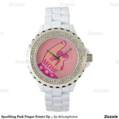 Sparkling Pink Finger Points Up Number One Mom Wristwatches