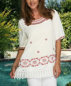 Love this White & Red Geometric Lace-Trim Top - Women on #zulily! #zulilyfinds