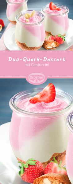 Duo-Quark-Dessert Fruchtiges Dessert mit Cantuccini The post Duo-Quark-Dessert appeared first on Dessert Rezepte. Yogurt Recipes, Vegan Recipes Easy, Quark Recipes, Mini Desserts, Delicious Desserts, Dessert Aux Fruits, Food Cakes, Desert Recipes, Dessert Bars