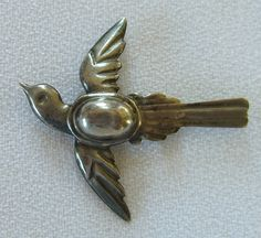 Antique Sterling Brooch Swallow 1940s Pin by BuyVintageJewelry, $21.00