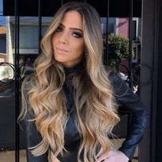 """VeSunny 24"""" Balayage Tape Hair Extensions Real Hair Ombre Tape in Extensions #4 Dark Brown Fading to #10 Highlighed #16 Golden Blonde Balayage Tape in 20pcs 50G Per Pack #VeSunny #tapeinhairextensions #hairextensions"""