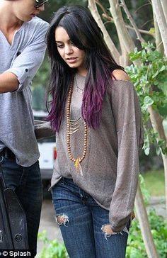 New hair black ombre purple dip dye ideas Dye My Hair, New Hair, Hair Tips Dyed, Blue Dip Dye Hair, Vanessa Hudgens, Hair Color For Black Hair, Purple Hair Tips, Purple Black Hair, Funky Hair