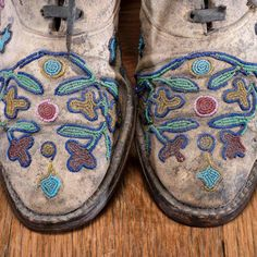Bid Now: Santee Sioux Beaded Hide Work Boots - September 5, 0121 10:00 AM EDT Native American Moccasins, Sioux, European Fashion, Red And White, Dark Blue, Charlotte, September, Boots, Style