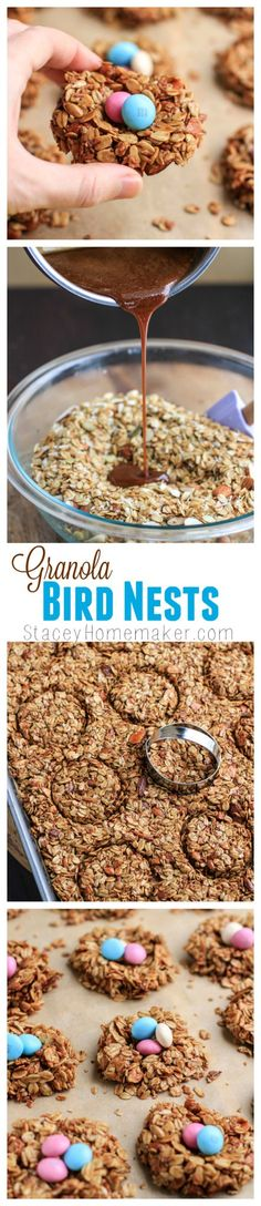 Make these Granola Bird Nests with candy Easter Eggs for the upcoming holiday! The recipe creates a delicious dessert. Create these treats for your family, and add them to your Easter basket.