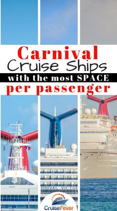 A list of all the classes of Carnival cruise ships and which ones offer the post space per passenger.  Ever wonder why some ships seem crammed while others seem a lot more roomy? This list might explain why... #carnival #carnivalcruise #cruiseships #biggestcruiseships #cruisefever #cruiseshipspace