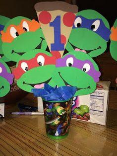 Turtle Birthday Parties, Ninja Turtle Birthday, Ninja Turtle Party, Birthday Ideas, 5th Birthday, Ninja Turtle Balloons, Ninja Turtles, Ninja Turtle Centerpieces, Ninja Turtle Decorations