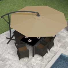 Offset Patio Umbrella, Sand Gray Features: -Height and angle adjustable. -Secure base with base weights or patio stones (not included). Generic Dimensions: Offset umbrella made from durable polyester. Patio Umbrella Stand, Offset Patio Umbrella, Cantilever Umbrella, Market Umbrella, Patio Umbrellas, Support Parasol, Outdoor Tables, Outdoor Decor, Outdoor Life