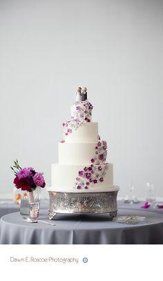 Amy Beck Cake Design - Chicago, IL - 4 Tier  fondant wedding cake with mini sugar flowers - #amybeckcakedesign