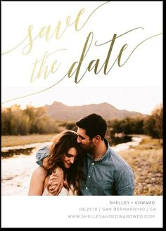 Soft Script Save the Dates (White) with Rose Gold foil and rounded corners by Wedding Paper Divas