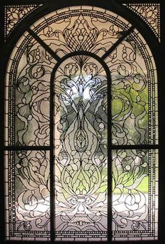 ZOOM to large leaded glass Keech Victorian style window