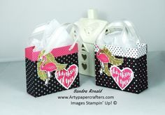 """This gorgeous little handmade gift bag is very easy to make and you can make two from one sheet of 12 x 12"""" Stampin' Up Designer Series Paper."""