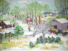 "Vintage Fabric ~ Grandma Moses ""Early Springtime on the Farm"""