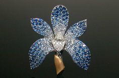 Orchid Pin with Sapphires and Diamonds from Mark Patterson.