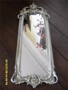 LONG FRENCH BAROQUE SILVER VINTAGE WALL MIRROR GLASS NOUVEAU ORNATE 57 CM LONG