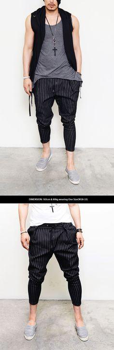 Banding Drawcord Pin Stripe Ankle Baggy-Pants 129