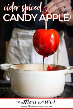 Cider Spiced Candy Apple Recipe || Traditions… that's what the holidays are all about right? One of my family's favorite holidays is Halloween and this year we added a new tradition to our annual line up, DIY homemade cider spiced candy apples!! Your kids will love this easy recipe and the bold blood red hue! {{ This recipe was created in partnership with Stemilt! We received compensation and product in exchange for it. Opinions are always our own.}} #halloween #candyapples #thismessisours Best Gluten Free Desserts, Gluten Free Cookies, Easy Desserts, Delicious Desserts, Strawberry Swirl Cheesecake, Cheesecake Strawberries, Strawberry Sauce, Apple Recipes, Fall Recipes