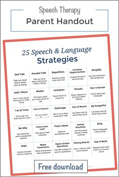 speech and language at home early language development handouts for speech therapy strategies