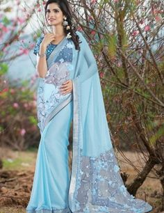 Sky Blue Chiffon Material Saree With Lace Work