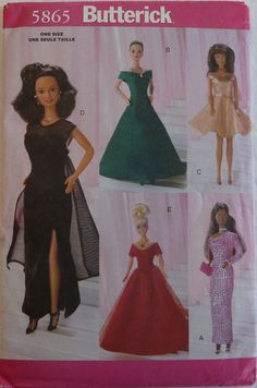 Sewing Pattern Butterick 5865 - 11 1/2 inch Fashion Doll Evening Dresses / Gowns - UNCUT