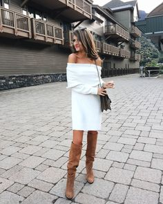 Off the shoulder sweater dress with tall camel boots, great fall outfit