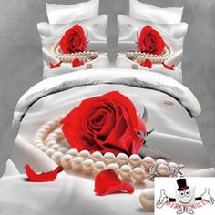 Red Rose Flower Pearl Necklace Bedding Set and Quilt Cover
