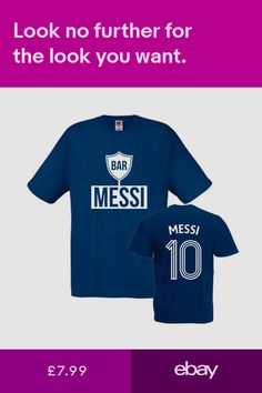 dd3cadc2 Messi Barcelona No.10 Kids Printed Navy Blue T-Shirt Ages 1-13 Unofficial