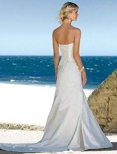 Trumpet / Mermaid Strapless Court Trains Sleeveless Satin Beach Wedding Dress For Brides