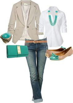 spring: jeans, white top, tan linen blazer, turquoise Hobo clutch, turquoise jewelry, tan shoes