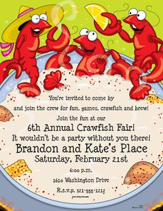 A crawfish paper with a fun design of a group of crawfish bathing in a pot of gumbo getting ready for a New Orleans feast! A Great paper to celebrate Mardi Gras of just some fun sea food feast. Crawfish Party, Seafood Boil Party, Seafood Shop, Cajun Crawfish, Invitation Wording, Party Invitations, Invites, New Orleans Party, Lobster Restaurant