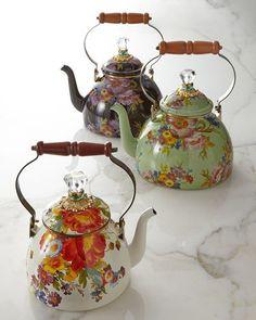 -3H05 MacKenzie-Childs  Flower Market Black Two-Quart Tea Kettle Flower Market…
