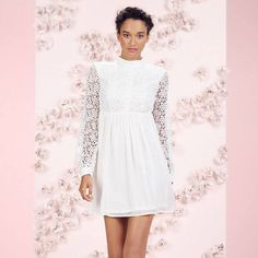 LC Lauren Conrad Runway Collection Lace Babydoll Mini Dress - Women's, Size: 4, White