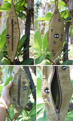 leaf shaped bag from green with hand painted soot by cuteart
