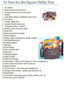 Square Utility Tote uses! How many of these uses can help you out?