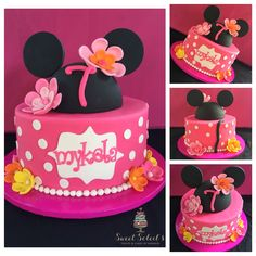Hawaiian Minnie Mouse Inspired Cake by SweetSoleil's Treats