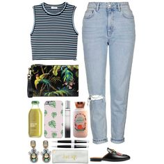 A fashion look from July 2016 featuring A.L.C. tops, Topshop jeans and Gucci clutches. Browse and shop related looks.