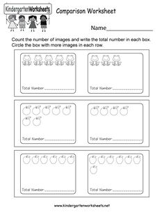 Kids are asked to compare two sets of images and figure out which set has more by counting how many images are in each box in this more or less worksheet. Writing Practice Worksheets, Sight Word Worksheets, Kindergarten Math Worksheets, Number Worksheets, Phonics Worksheets, Worksheets For Kids, Preschool Learning, Comparing Numbers Worksheet, Cvc Words