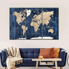 World Map On Wooden Wall Multi Panel Canvas Wall Art