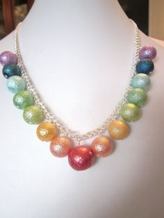 Bumpy Pearl Necklace - Stunning Rainbow Pearl Necklace - Chunky, Choker, Bib, Necklace, Wedding, Bridal, Bridesmaid, SRAJD, Ready to Ship