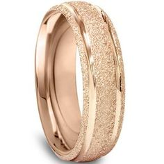14K Rose Gold 6MM Brushed Mens Wedding Band Ring Size by Pompeii3