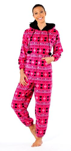 Ruby Onesie - Ladies Really soft onesie with a kangeroo pocket, fur lined hood and pom pom bobbles. Also in Black. £24 Sizes 10-20.