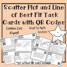 Scatter Plots and Line of Best Fit Task Cards with QR Codes Math Teacher, Math Classroom, Teaching Math, Teaching Ideas, 8th Grade Math, Eighth Grade, Math Resources, Math Activities, Classroom Resources