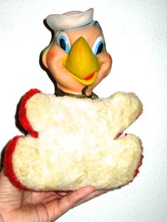Vintage plush parrot stuffed animal toy rubber painted face red and white by sweetalicelovesyou on Etsy