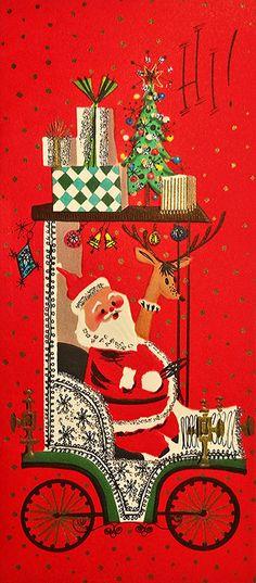 50s Glittered Santa Reindeer Drive The Old Car Vintage Christmas Card 1171 | eBay Santa and reindeer in car - 1950s greeting card.