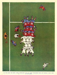 Aerial view of old school scrum - part of a series of rugby illustrations by Fougasse Rugby League, Rugby Players, Pumas, Citation Rugby, Rugby À Xiii, Rugby Images, Rugby Rules, Rugby Poster, Rugby Coaching