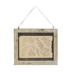 Distressed Wooden 4 x 6cm Frame: Lovely wooden landscape hanging frames in a a distressed painted wood finish. Perfect for displaying treasured memories from old stubs, to vintage family photographs. Each frame has a rustic, worn feel and is lovingly hung with coloured fabric from a traditional sari.
