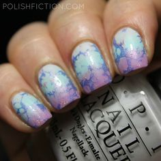 Gradient with OPI Venice nail polishes and double water spotted