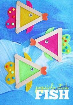 Popsicle stick fish craft for kids. Summer craft- Popsicle stick fish craft for kids. Summer craft Popsicle stick fish craft for kids. Kids Crafts, Daycare Crafts, Glue Crafts, Craft Stick Crafts, Toddler Crafts, Felt Crafts, Paper Crafts, Craft Sticks, Popsicle Sticks
