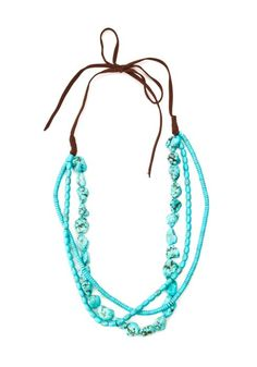 Lucky turquoise necklace with brown suede tie from my collection - perfect for Boho Summer!